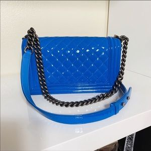 CHANEL Bags - Chanel old medium Electric Blue Patent Leather